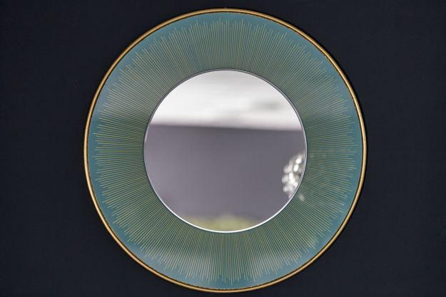 Slika Dekorativno ogledalo sa tirkiznim rubom 76 cm