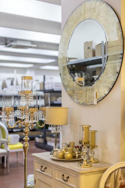 Slika Zidno ogledalo sa dekorativnim zlatnim rubom 100 cm