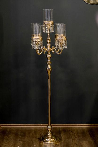 Slika Luksuzni  metalni  svijećnjak sa kristalima 171 cm