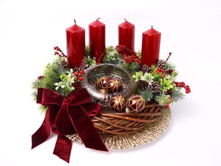 Slika Adventski vijenac s crvenim svijećama, 38 cm