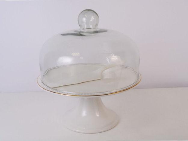 Slika Stalak s lopaticom i poklopcem porculan/staklo 28 cm