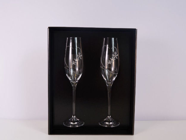 Slika Čaše za šampanjac sa Swarovski kristalima S/2 staklo 210 ml