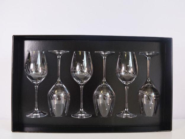 Slika Čaše za vino sa Swarovskim kristalima S/6 staklo 360 ml